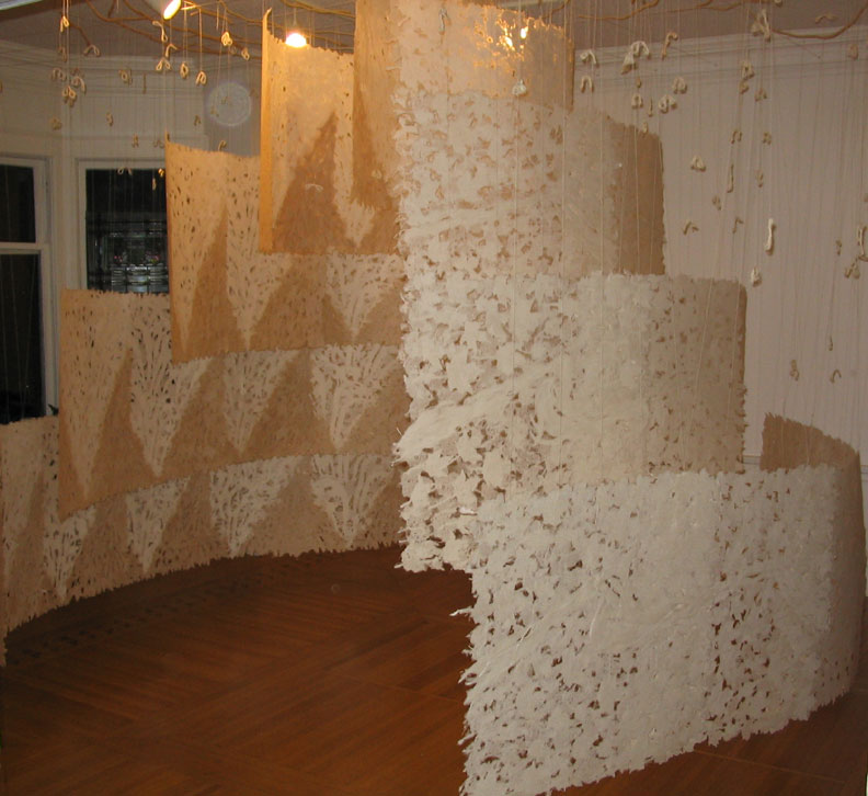 overall view of handmade paper installation in art gallery