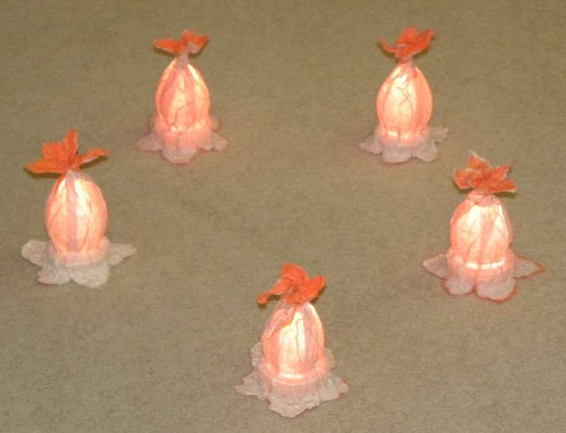 luminaries in the shape of squash blossoms